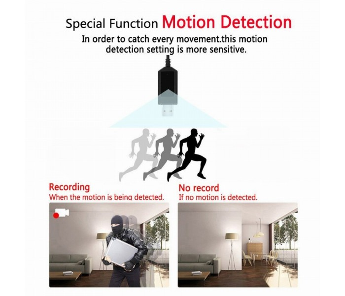 Καλώδιο Φόρτισης με κρυφή κάμερα - Με ανίχνευση κίνησης